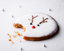 Homemade Christmas Cookie With Missing Bite