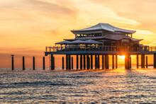 Germany, Schleswig-Holstein, Timmendorfer Strand, Coastal Teahouse At Sunrise