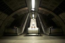 Empty Escalators At Tube Station, London, England