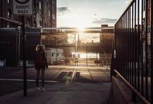 Woman By Road, Williamsburg, Brooklyn, New York, USA