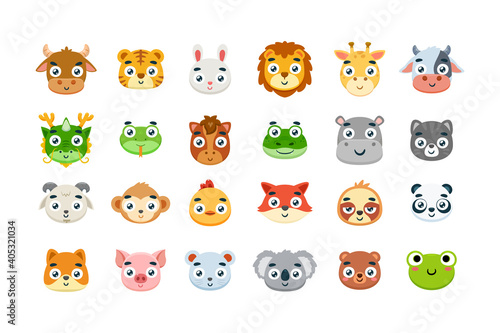 Fototapeta premium The cute animal icon set. Vector Illustration