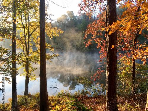 Photo autumn lake pocahontas park virginia