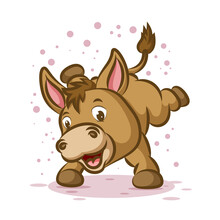 The Little Donkey Is Dancing With The Happy Face And The Sparkling Around Him