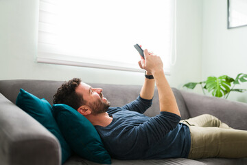 Husband in love is sending text messages to his wife