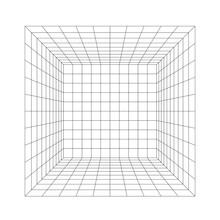 Room Perspective Grid, 3d Illustration Isolated On White Background
