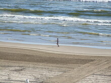 South Padre Island Beach With A Lone Jogger