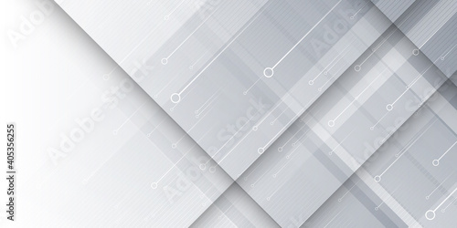 Fototapeta White square shape abstract technology concept Background. Minimal Geometric vector illustration. Grey white abstract background geometry shine and layer element vector for presentation design.  obraz