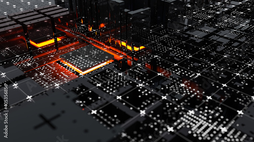 Obraz Abstract Central Computer Processors Concept. 3D illustration - fototapety do salonu