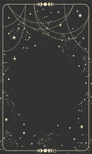 Vintage Celestial Mystical Background For Astrology, Divination, Tarot. Black Postcard With A Frame In A Bohemian Design, Stars And Jewelry, Copy Space. Magic Vector Illustration