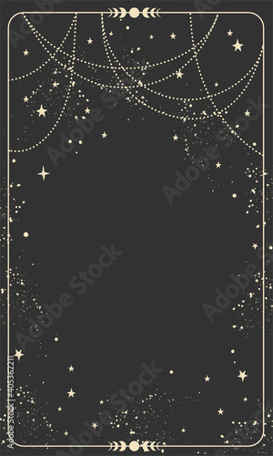 Fototapeta Vintage celestial mystical background for astrology, divination, tarot. Black postcard with a frame in a bohemian design, stars and jewelry, copy space. Magic vector illustration obraz