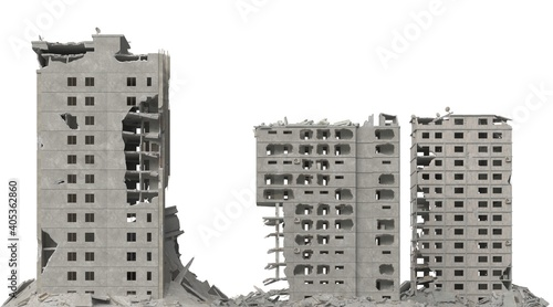 Foto Ruined building isolated on white 3d illustration