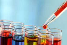 Close-up Of Colorful Chemicals In Test Tubes At Laboratory
