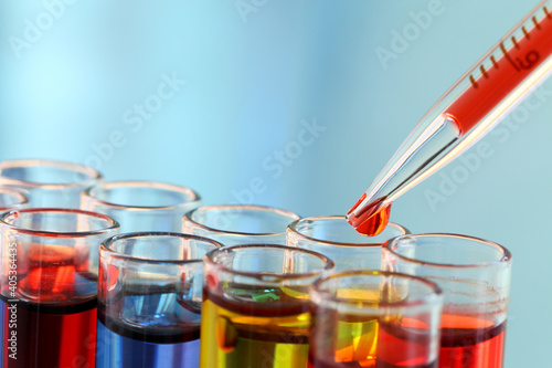 Obraz Close-up Of Colorful Chemicals In Test Tubes At Laboratory - fototapety do salonu