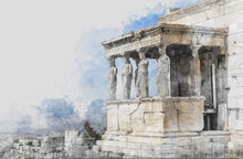 Ancient Sites Ruins Of Ancient Temple On Acropolis Hill In Athens, Greece. Watercolor Splash With Hand Drawn Sketch Illustration