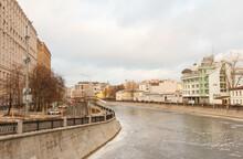 Moscow, Russia, Dec 23,2020: Embankment Of Frozen Vodootvodny Canal.