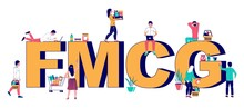 FMCG Fast Moving Consumer Goods Typography Banner. Buyers With Shopping Cart And Basket, Flat Vector Illustration. Low Cost And Sold Quickly Products. Business And Commerce, FMCG Retail.
