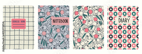Obraz Set of cover page vector templates based on floral patterns with pomegranates, plaid pattern and pattern with hand drawn rings. Perfect for exercise books, notebooks, diaries, presentations - fototapety do salonu
