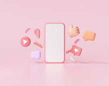 3D Render Social Media With Photo Frame, Like Button And Geometric Shapes On Pink Background Illustration.