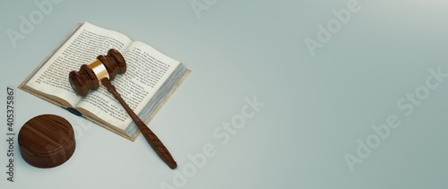 Fotografia High Angle View Of Book And Gavel Against White Background