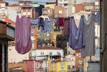 Clothes Dry On A Rope, Close Up. Istanbul, Turkey. Fatih District.