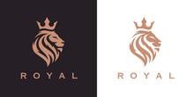 Royal Lion Crown Logo Template. Elegant Gold Leo Crest Symbol. Premium King Brand Identity Icon. Luxury Company Sign. Vector Illustration.