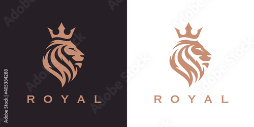 Obraz na plátně Royal Lion crown logo template