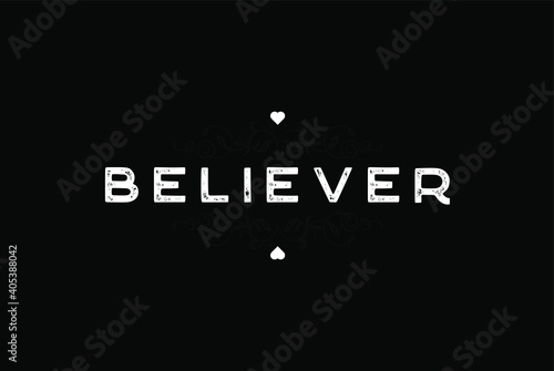 Believer White Letter and Dark Floral Ornament Black Wallpaper Background Vector Fotobehang