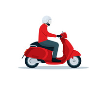 Red Scooter Motorcycle And Rider In Simple Graphic Isolated On White Background Vector Illustration