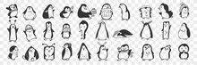 Penguin Doodle Set. Collection Of Funny Hand Drawn Cute Penguins Animals In Accessories Doing Everyday Things Enjoying Life Isolated On Transparent Background. Illustration For Kids