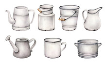 Set Of Jars.dishware.rural Tableware.bucket, Watering Can, Kettle, Can, Cup, Jug, Kettle, Saucepan