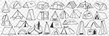 Various Camping Tents Doodle Set. Collection Of Hand Drawn Camping Temporary House Tents For Traveling Tourism Isolated On Transparent Background. Illustration Of Textile Tents For Staying On Nature