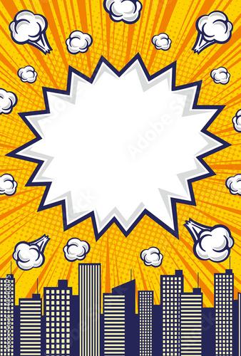 Obraz na plátně コミックアート風の吹き出しがある都市の背景素材