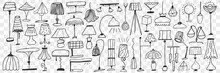 Lamps And Floor Lamps Doodle Set. Collection Of Hand Drawn Cute Elegant Lamps For Home Decorating On Various Shapes And Sizes Isolated On Transparent Background. Illustration Of Light Equipment