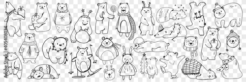 Obraz Polar and teddy bear doodle set. Collection of hand drawn funny bears in scarves and accessories doing sport, sleeping, enjoying life isolated on transparent background. Illustration of bear for kids - fototapety do salonu