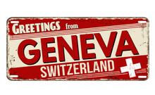Greetings From Geneva Vintage Rusty Metal Plate
