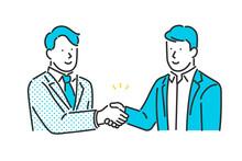 取引先と握手をするビジネスパーソンのイラスト素材