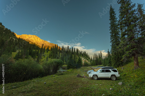 auto tourists parked in the mountains #405410077