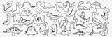 Fototapeta Dinusie - Funny dinosaurs doodle set. Collection of hand drawn funny cute dinosaur of various shapes and ages enjoying life feeling happy isolated on transparent background. Illustration of dinosaur for kids