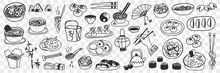 Various Japanese Chinese Dishes Doodle Set. Collection Of Hand Drawn Sushi Maki, Spring Rolls, Steamed Rice And Dumplings As National Cuisine Isolated On Transparent Background. Illustration Of Food