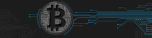 Bitcoin Theme Design. Bitcoin Digital Cryptocurrency In Circuit Board Style. Vector Illustration