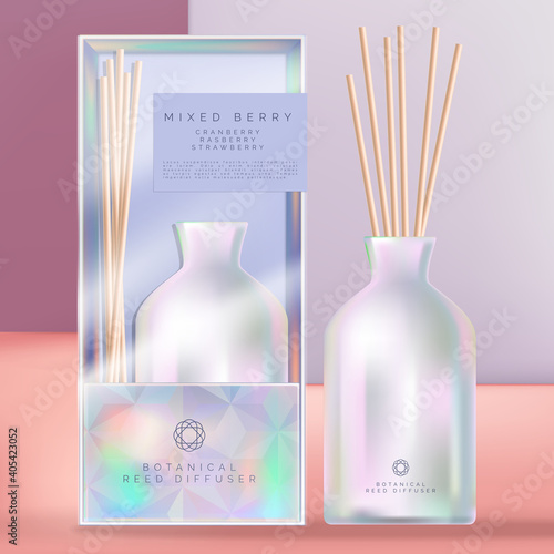 Billede på lærred Vector Holographic or Iridescent Ceramic Reed Diffuser with Holographic Packaging Box and Acetate Sleeve
