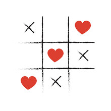 Vector Illustration Of Tic Tac Toe Game With Hearts. Valentine's Day Background.