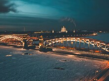 St. Petersburg. Russia. Night Panorama Of The Smolny Cathedral In St. Petersburg. Annunciation Bridge