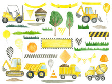 Construction Clipart Trucks, Road Signs, Balloons, Ribbons, Trees Children's Collection For Birthday Party Decoration Watercolor Hand Painted Kids Design