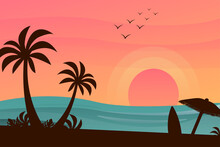 Vector Illustration Of Beach Scene At Sunset