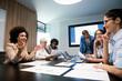 Leinwandbild Motiv Happy diverse business colleagues meeting, working in modern office