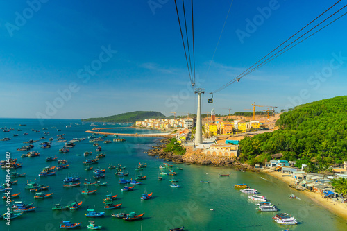Canvas Print The longest cable car situated on the Phu Quoc Island in South Vietnam and below