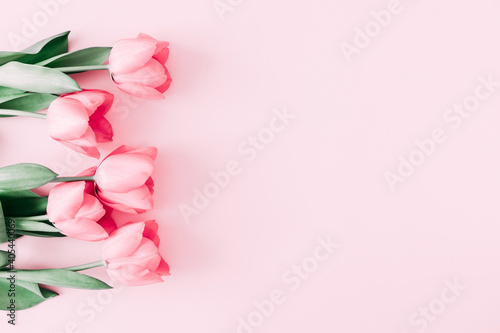 Fototapeta premium Beautiful composition spring flowers. Bouquet of pink tulips flowers on pastel pink background. Valentine's Day, Easter, Birthday, Happy Women's Day, Mother's Day. Flat lay, top view, copy space