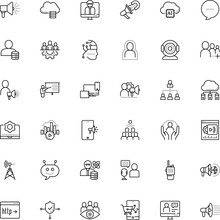 Communication Vector Icon Set Such As: Programming, Dialog, Remote, Solution, Comment, Walkie-talkie, Share, Worker, Male, Big Data Scientist, Government, Infrastructure, Bot, Target, Presenter