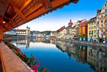 Chappel Bridge Historic Wooden Landmark In Luzern And Town Riverfront View